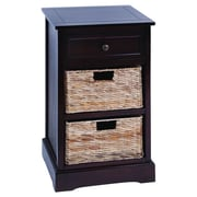 Woodland Imports Cabinet w/ 2 Wicker Baskets; Dark