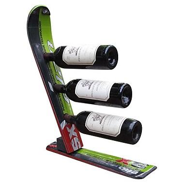 Ski Chair Snow 3 Bottle Tabletop Wine Rack; Black / Green / White