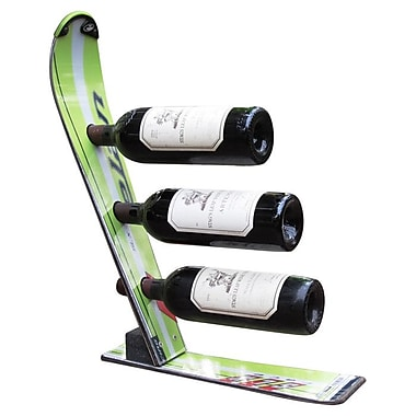 Ski Chair Snow 3 Bottle Tabletop Wine Rack; Green Elan