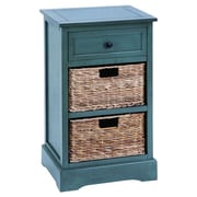 Woodland Imports Cabinet w/ 2 Wicker Baskets; Blue