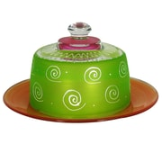 Golden Hill Studio Frosted Curl Cheese Cake Stand; Light Green