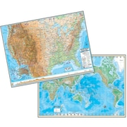 Universal Map Advanced United States/World Physical Laminated Rolled Map