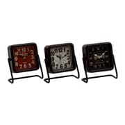 Woodland Imports 3 Piece Artistic Metal Square Table Clock Set