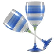 Golden Hill Studio Retro Stripe Wine Glass (Set of 2); Blue