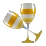 Golden Hill Studio Retro Stripe Wine Glass (Set of 2); Orange