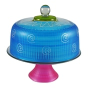 Golden Hill Studio Frosted Curl Cake Stand; Turquoise