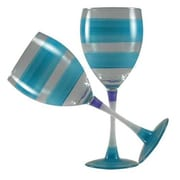 Golden Hill Studio Retro Stripe Wine Glass (Set of 2); Turquoise