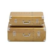 Woodland Imports 2 Piece Strong And Sturdy Wood Aluminum Case Set