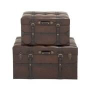 Woodland Imports 2 Piece Classic Wood Polyurethane Leather Trunk Set