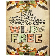 Evive Designs 'Wild and Free' by Jennifer Lee Textual Graphic Art on Wrapped Canvas