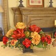 Floral Home Decor Silk Flower Centerpiece with Magnolias and Hydrangea