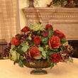 Floral Home Decor Garnet Silk Flower Centerpiece with Rose, Hydrangea and Berry