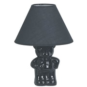 ORE Furniture Ceramic Teddy Bear 7.5'' H Table Lamp with Empire Shade; Black