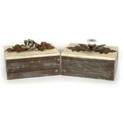 Creative Co-Op 2 Piece Wood Memory Box Set (Set of 2)