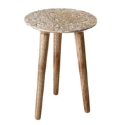 CBK Alpine Hand Carved Chairside Table