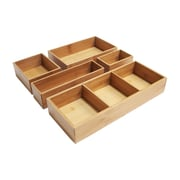 Seville Classics Bamboo 5 Piece Drawer Organizer Boxes
