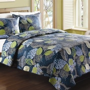 J&J Bedding Tropical Leaves Quilt; Queen