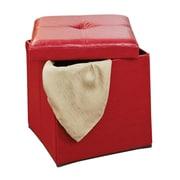 Simplify Single Folding Upholstered Storage Ottoman; Red