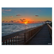 Ready2hangart 'Sun Rise Pier' by Bruce Bain Photographic Print on Wrapped Canvas