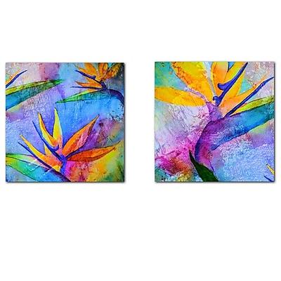 Ready2hangart Tropical Birds of Paradise 2 Piece Graphic Art on Canvas Set WYF078277573953