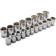 Dynamic Tools – Ensemble de 19 douilles, 12 pans standards, à prise de 1/2 po, pour clés à chocs métriques 10 mm à 28 mm