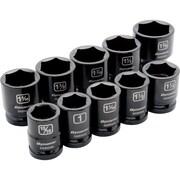 Dynamic Tools – Ensemble de 10 douilles SAE à chocs 6 pans, longueur standard, à prise de 3/4 po, 15/16 po à 1 5/8 po