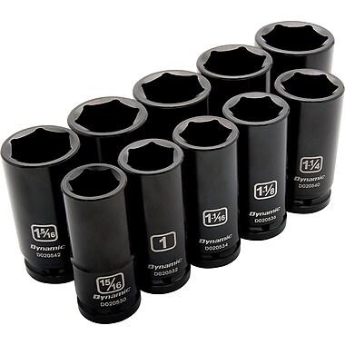 Dynamic Tools – Ensemble de 10 douilles SAE à chocs, 6 pans profondes, à prise de 3/4 po, 15/16 po à 1 5/8 po