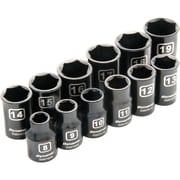 Dynamic Tools – Ensemble de 12 douilles 6 pans standards pour clés à chocs métriques, à prise de 3/8 po, 8 mm à 19 mm
