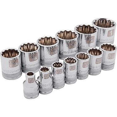 Dynamic Tools – Ensemble de 13 douilles 12 pans SAE standards, à prise de 3/8 po, 1/4 po à 1 po