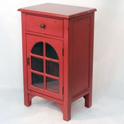 Heather Ann Wooden Cabinet with Glass Insert; Red