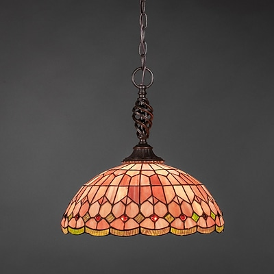 Toltec Lighting Elegant 1-Light Pendant; Rosetta Tiffany