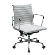 Manhattan Comfort Metro Mid-Back Leather Adjustable Office Chair; White