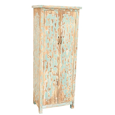 Crestview Dawson Creek Weathered Oak and Cyan Tall 2 Door Cabinet WYF078277584863