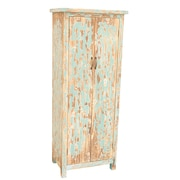 Crestview Dawson Creek Weathered Oak and Cyan Tall 2 Door Cabinet