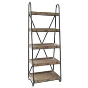 Crestview Voyager Metal and Wood Tiered 67'' Etagere Bookcase