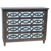 Crestview Beacon Hill 4 Drawer Wood and Mirror Chest