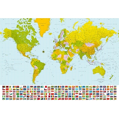 Ideal Decor Map of the World Wall Mural, 100