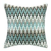D.L. Rhein Skyscraper Embroidered Decorative Linen Throw Pillow; Blue/Light Blue