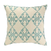 D.L. Rhein Filigree Embroidered Decorative Linen Throw Pillow; Sky Blue