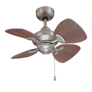 Kendal Lighting 24'' Aires 4 Blade Ceiling Fan; Satin Nickel with Royal Walnut Blades
