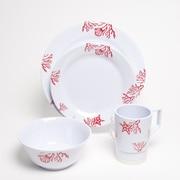 Galleyware  Company Decorated Coral Melamine 16 Piece Dinnerware Set