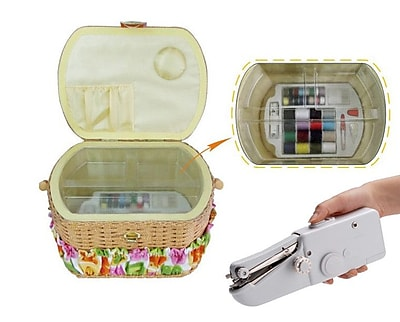 Michley Electronics Sewing Basket w/ 41 Piece Sewing Kit and Handheld Sewing Machine WYF078277602036