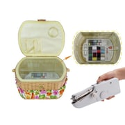 Michley Electronics Sewing Basket with 41 Piece Sewing Kit and Handheld Sewing Machine