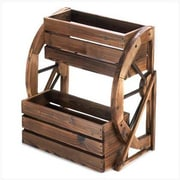 Classic Gifts and Decor Wagon Wheel Double Tier Wood Vertical Garden Planter