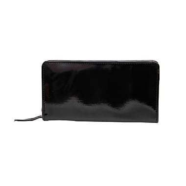 Ashlin Oliveria Ladies Clutch Zippered Wallet, Patent Black