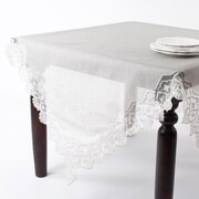 Saro Embroidered and Hand Beaded Tablecloth
