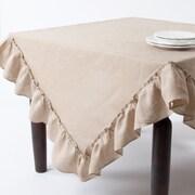 Saro Ruffled Design Tablecloth; Khaki