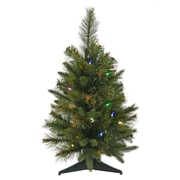 Vickerman Cashmere 2' Green Pine Artificial Christmas Tree w/ 30 LED Multi-Colored Lights