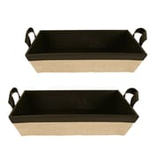WaldImports 2 Piece Black and Canvas Sided Tray Set (Set of 2)