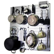 Wall Control Kitchen Organizer Pots & Pans Pegboard Pack; Metallic Silver / Black